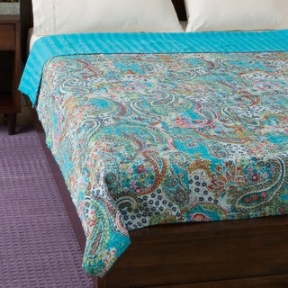 Cotton Kantha Turquoise Bed Cover (India) (2 options available)