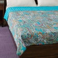 Cotton Kantha Turquoise Bed Cover (India)