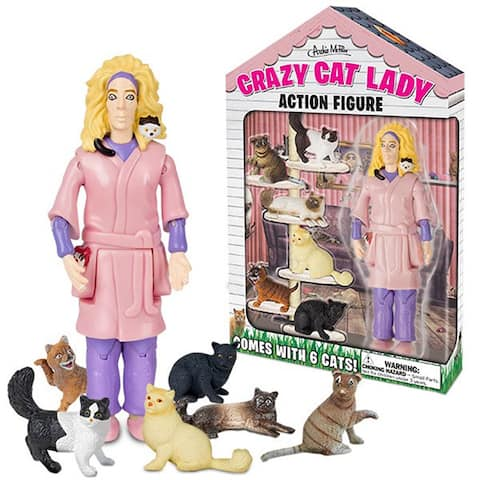 Crazy Cat Lady Action Figure Cats Toy Novelty 6 Kittens Accoutrements Gift