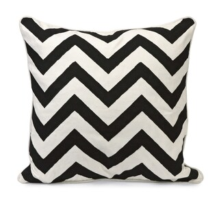 Chevron Black and White Embroidered 18-inch Throw Pillow