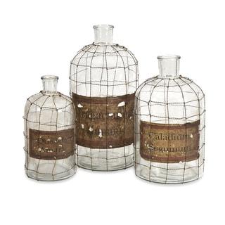 Dimora Wire Caged Bottles (Set of 3)