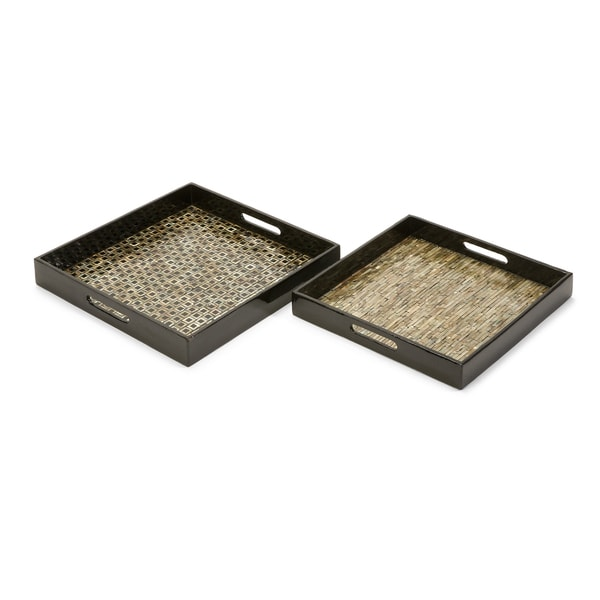 Stunning Set of 2 Jacobs Mother of Pearl Serving Trays