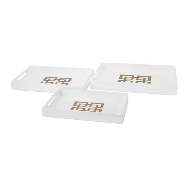 Giselle White Lacquer Trays (Set of 3)