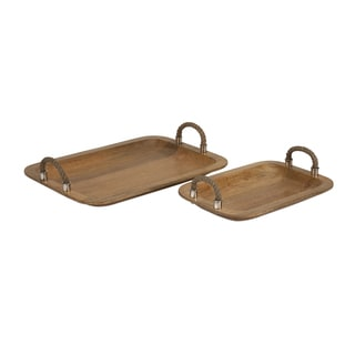 Tabari Wood Trays w/ Jute Handle (Set of 2)