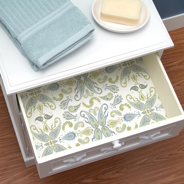 shop con tact brand creative covering self adhesive vinyl shelf and drawer liner abbey sage. Black Bedroom Furniture Sets. Home Design Ideas