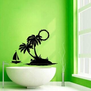 Beach Palm Tree Vinyl Sticker Wall Art
