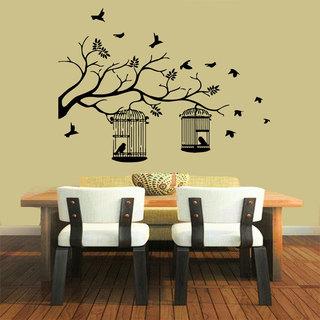 Bird Cages on the tree Vinyl Sticker Wall Art