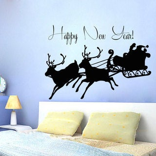 Santa Happy New Year Vinyl Sticker Wall Art