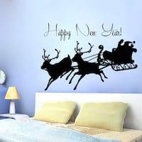 Santa Happy New Year Vinyl Sticker Wall Art