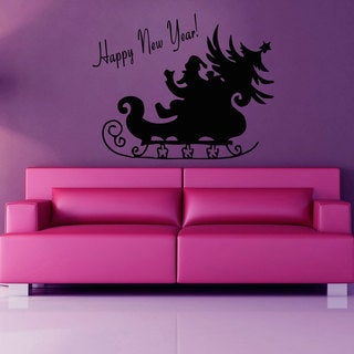 Happy New Year Santa Vinyl Sticker Wall Art