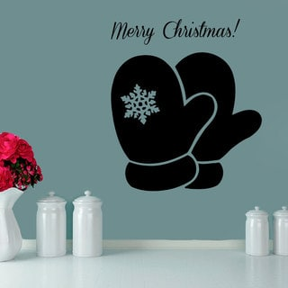 Merry Christmass Gloves Vinyl Sticker Wall Art