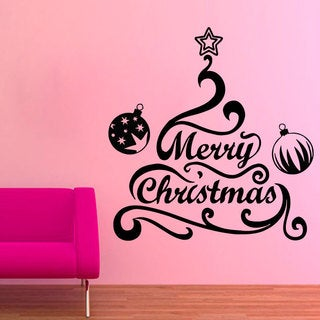 Merry Christmas Tree Vinyl Sticker Wall Art