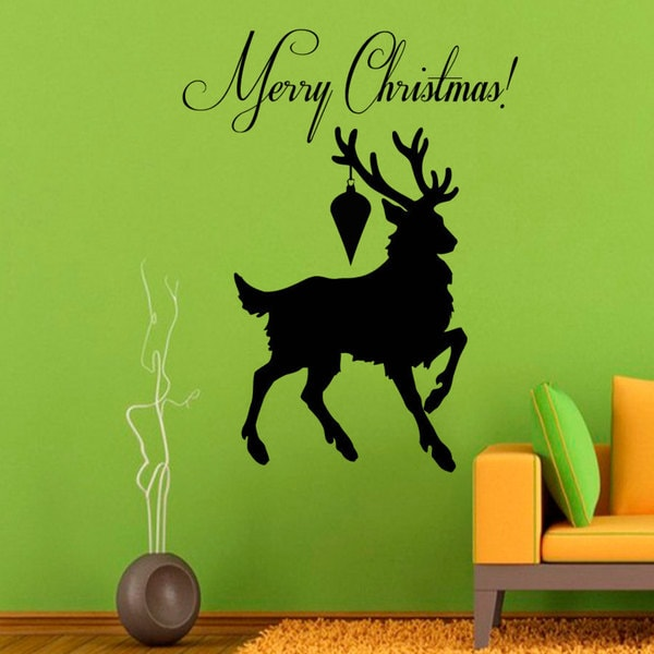 Merry Christmas Deer Vinyl Sticker Wall Art