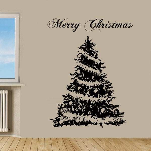 Shop Merry Christmas Tree Sticker Vinyl Wall Art - Free Shipping On ...