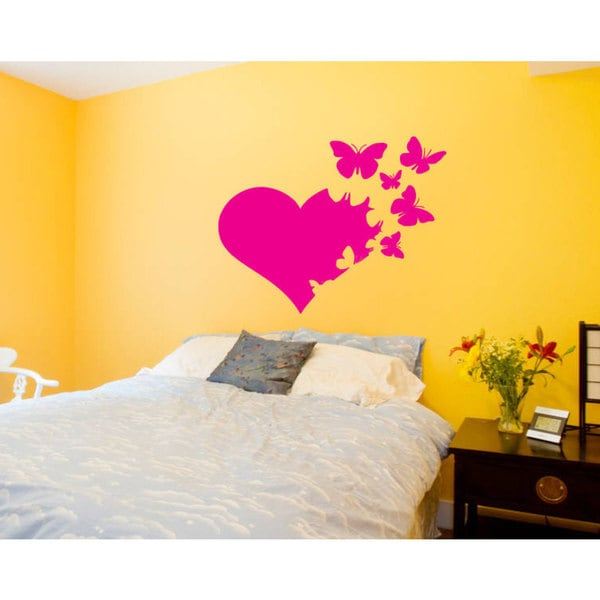 Heart and Butterflies Vinyl Sticker Wall Art