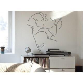 Kissing Couple Sketch Vinyl Sticker Wall Art