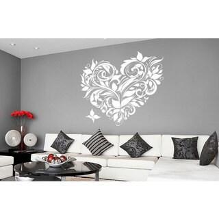 Swirly Heart Vinyl Sticker Wall Art