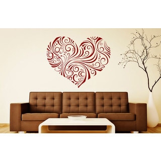 Burgundy Swirly Heart Vinyl Sticker Wall Art