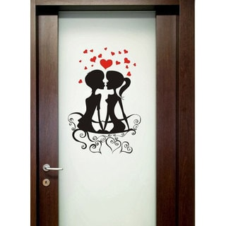 Kissing Romantic Couple Vinyl Sticker Wall Art