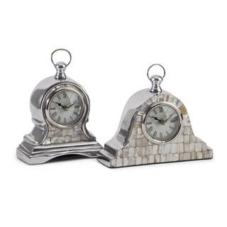 Aluminum Mother of Pearl Clock (Set of 2)