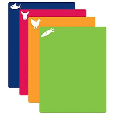 CounterArt Flexible Cutting Mat with Food Icons 4-piece Set - 12x15