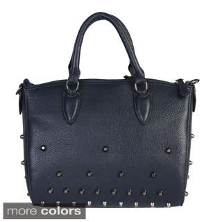 Mllecoco Leather Studded Structure Handbag - L (Option: Navy)|https://ak1.ostkcdn.com/images/products/10166541/P17294794.jpg?impolicy=medium