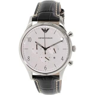 Emporio Armani Men's Classic AR1861 Grey Leather Quartz Watch