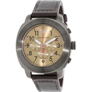 Emporio Armani Men's Sportivo AR6055 Gunmetal Leather Quartz Watch