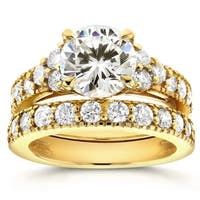 Annello by Kobelli 14k Yellow Gold Moissanite and 1 1/10ct TDW Antique Diamond Bridal Rings Set
