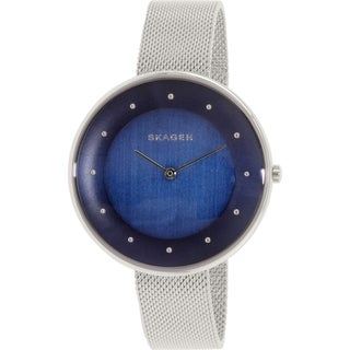 Skagen Women's SKW2293 Gitte Analog Blue Dial Stainless Steel Mesh Bracelet Watch