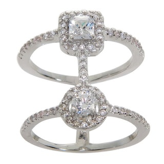 Eternally Haute Cushion-cut Cubic Zirconia Double-row Cage Ring