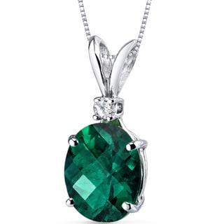 Oravo 14 Karat White Gold Oval Shape Gemstone Diamond Accent Pendant