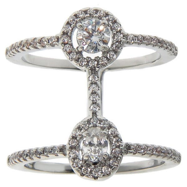 Eternally Haute Rhodium-plated Oval Pave-set Cubic Zirconia Double-row Cage Ring - Silver