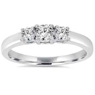 14k White Gold 3/4ct TDW Diamond Three Stone Engagement Ring