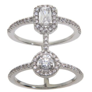 Eternally Haute Emerald-cut Pave Cubic Zircoina Double-row Cage Ring