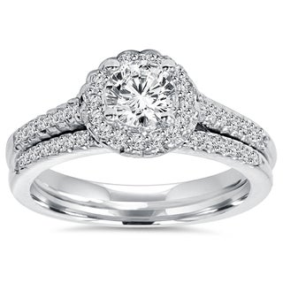 14k White Gold 3/4 ct TDW Diamond Halo Engagement and Matching Wedding Ring Set