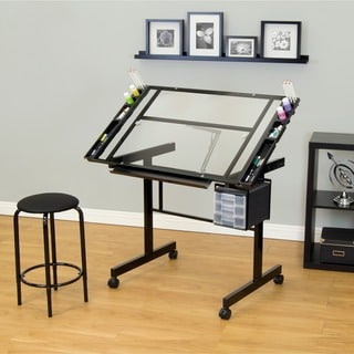 Studio Designs Vision 2-piece Clear Glass Top Drafting Table with Stool