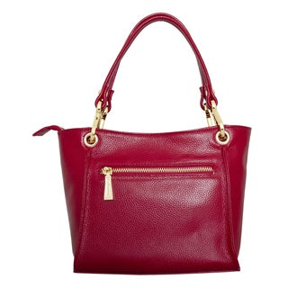 Leatherbay Italian Leather Siena Red Shoulder Bag
