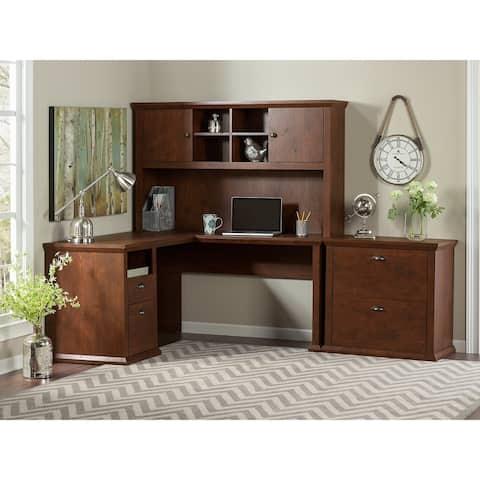 Copper Grove Senaki L-shaped Desk with Hutch and Lateral File Cabinet in Antique Cherry