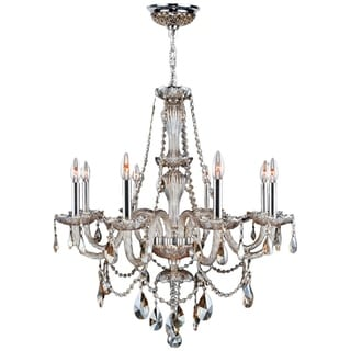 Venetian Italian Style 8-light Chrome Finish and Golden Teak Crystal 28-inch Chandelier