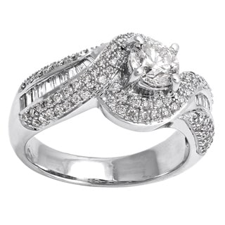 Beverly Hills Charm 14k White Gold 1 2/3ct TDW Diamond Halo Engagement Ring