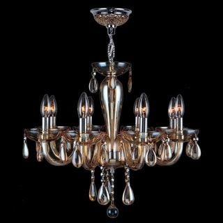 Gatsby Collection 8-light Chrome Finish and Amber Blown Glass Chandelier