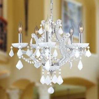 Lyre Collection 5-light Chrome Finish and White Crystal 19-inch Medium Chandelier