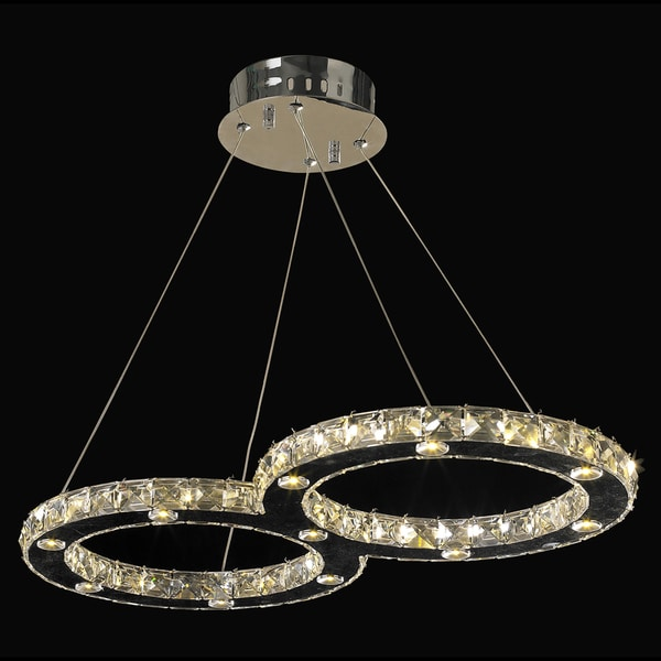 Galaxy Chrome Finish 22 light LED and Clear Crystal Double