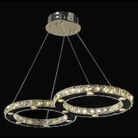 Galaxy Chrome Finish 22-light LED and Clear Crystal Double Ring 26-inch Chandelier