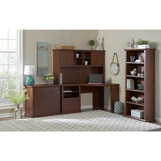 Yorktown Antique Cherry Corner Desk with Hutch, Lateral File Cabinet and Bookcase