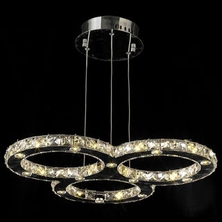 Galaxy 27-light LED Chrome Finish and Clear Crystal Triple Ring 24-inch Round Chandelier