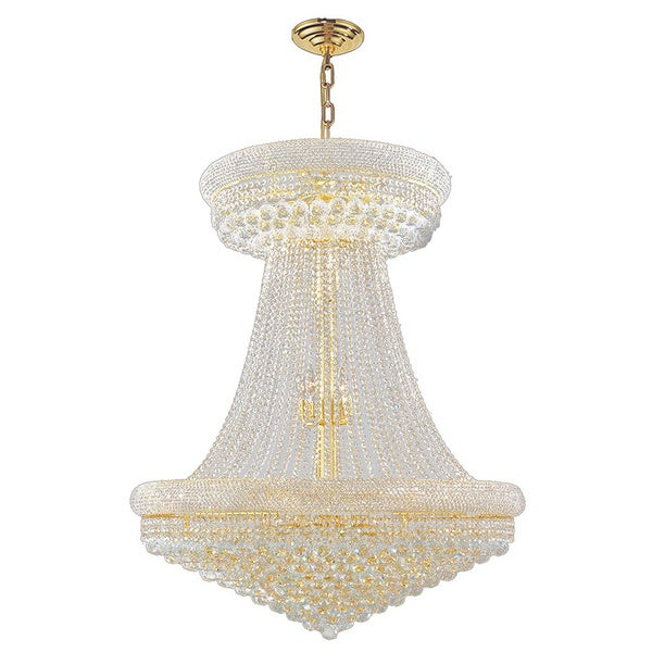 32 Light Gold Finish And Clear Crystal French Empire 2 Tier Chandelier