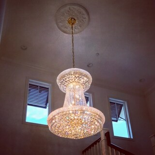 French Empire 28-light Gold Finish and Clear Crystal 36-inch Wide French Empire Chandelier