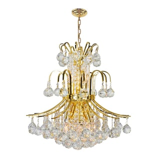 French Empire 9-light Gold Finish and Clear Crystal 19-inch Wide French Empire Chandelier